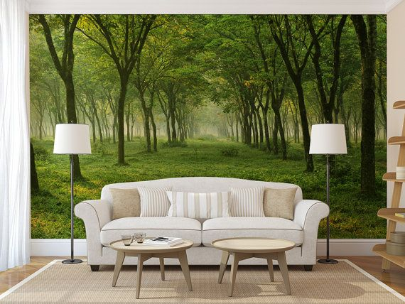 green forest mural, self adhesive peel and stick wall mural