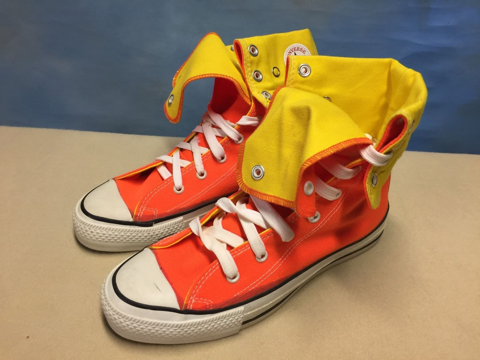1dbc5566ad65d Vintage 80s 90s CONVERSE Orange Yellow Canvas High Top Sneakers Sz 6.5 USA  MADE! in Clothing