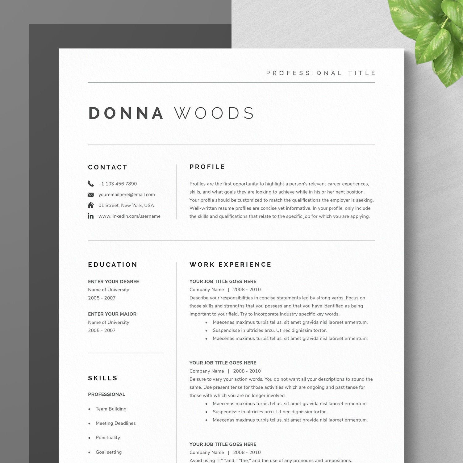 Modern Resume Template for Google Docs, Microsoft Word