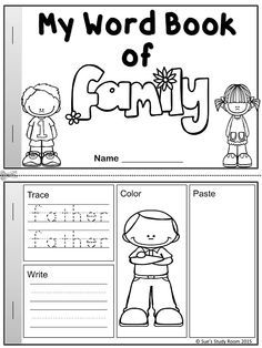My Word Book of Family Members Worksheets Teacher and Activities
