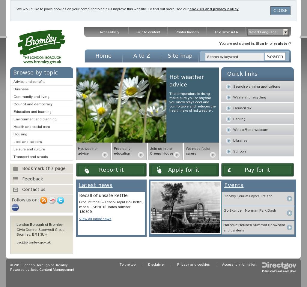 Bromley. Dull. Planning applications, Social media