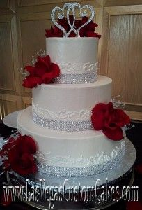 wedding cakes with red roses and bling wedding cakes roses and crystals 10 year renewals 26098