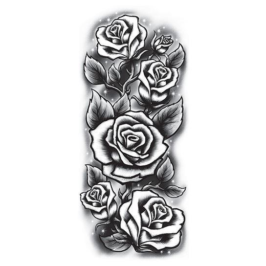 Black and White Roses Sleeve Temporary Tattoo