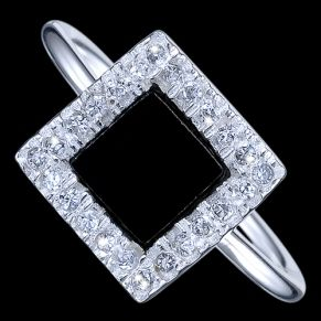 Silver ring, zirconia, square Silver ring, CZ, Ag 925/1000 - sterling silver. With stone (Cubic zirconia). Black enamel in the center is crafted into a framed square covered with round zirconia. Square dimensions are approx. 10x10x2mm, dimensions of black center approx. 6.6mm.