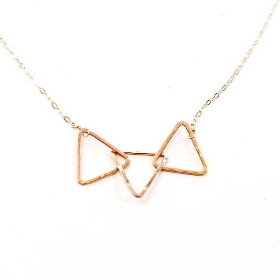 Tri Delta Necklace Gold Triangle Trio 14k Gold Filled Etsy Tri Delta Necklace Triangle Necklace 14k Gold Filled Chain