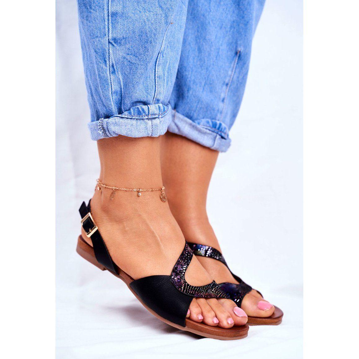 S Barski Sandaly Damskie Plaskie Czarne Barski Strongby Birkenstock Shoes Sandals