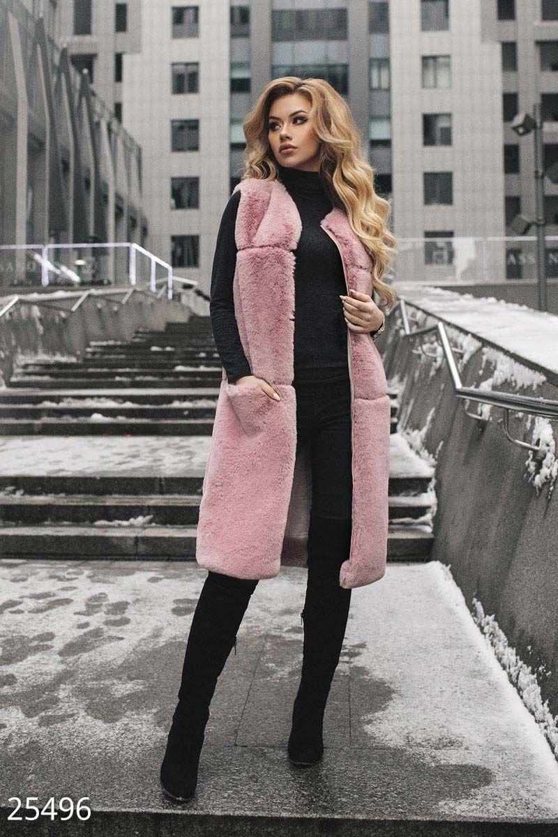 3fbab9bf48b9b ... женской одежды Гипюр. Gepur   Удлиненный меховой жилет арт. 25496 Цена  от производителя, достоверные описание, отзывы
