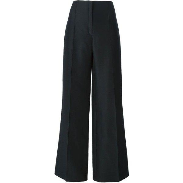 Nina Ricci Wide Leg Trousers ($467) ❤ liked on Polyvore featuring pants, black, black wide leg pants, nina ricci, black pants, black wide leg trousers and black trousers