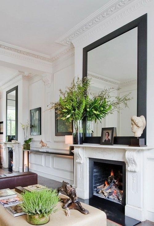 Living Room With Mirror Above The Fireplace Wohnzimmer Mit Spiegel Uber Dem Kamin Haus Deko Haus Wohnzimmer Design Fur Zuhause