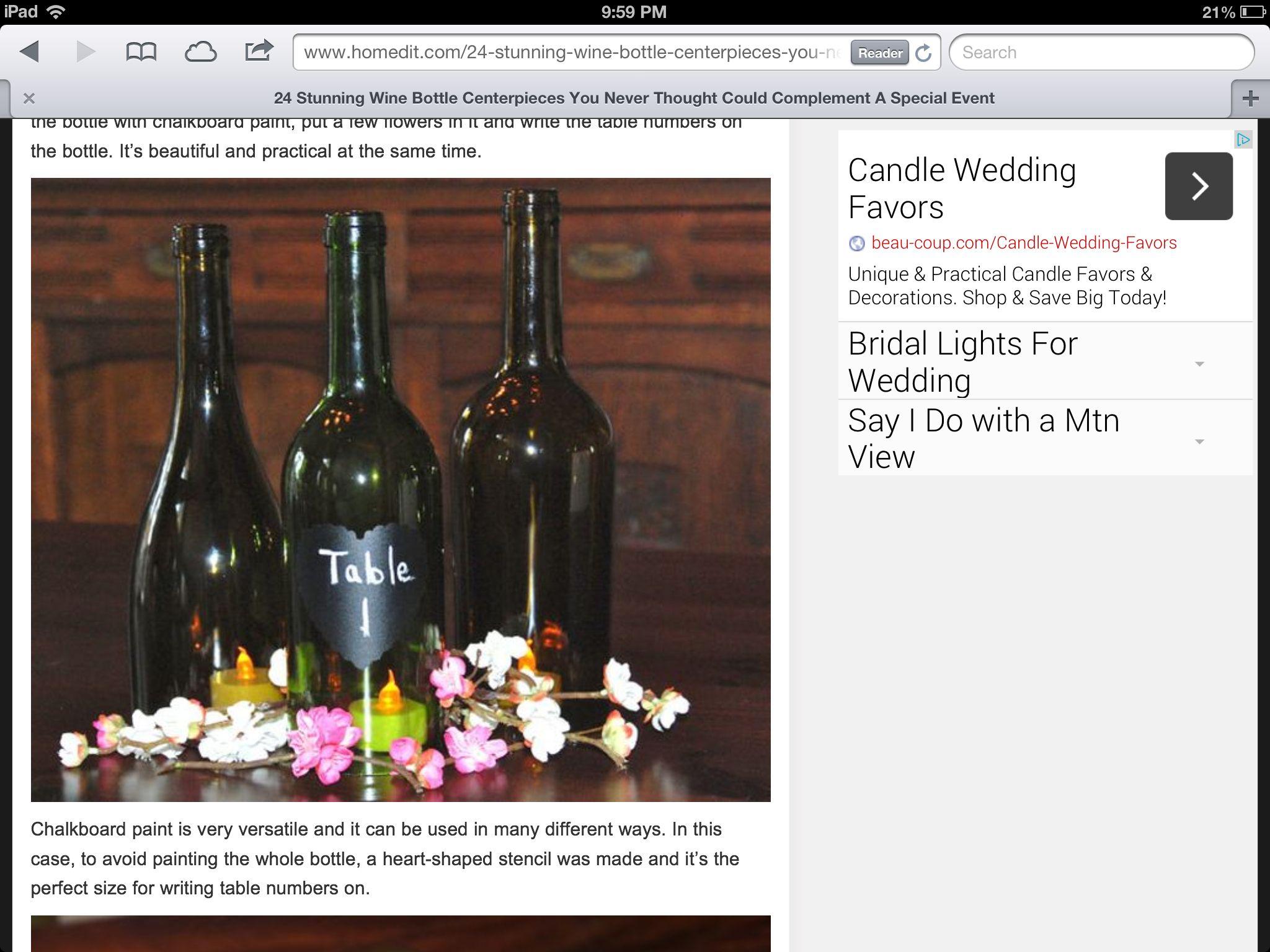 Potential idea | Candle wedding favors, Wine bottle centerpieces, Candle  favors