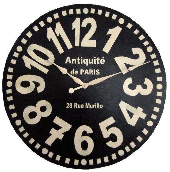 Large Wall Clock 30 Inch Murillo Paris Black Tuscan Antique Style Big French Style Numbers Large Wall Clock Clock Country Wall Clock