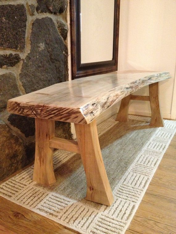 Natural Edge Maple Bench Live Edge Furniture Rustic Log