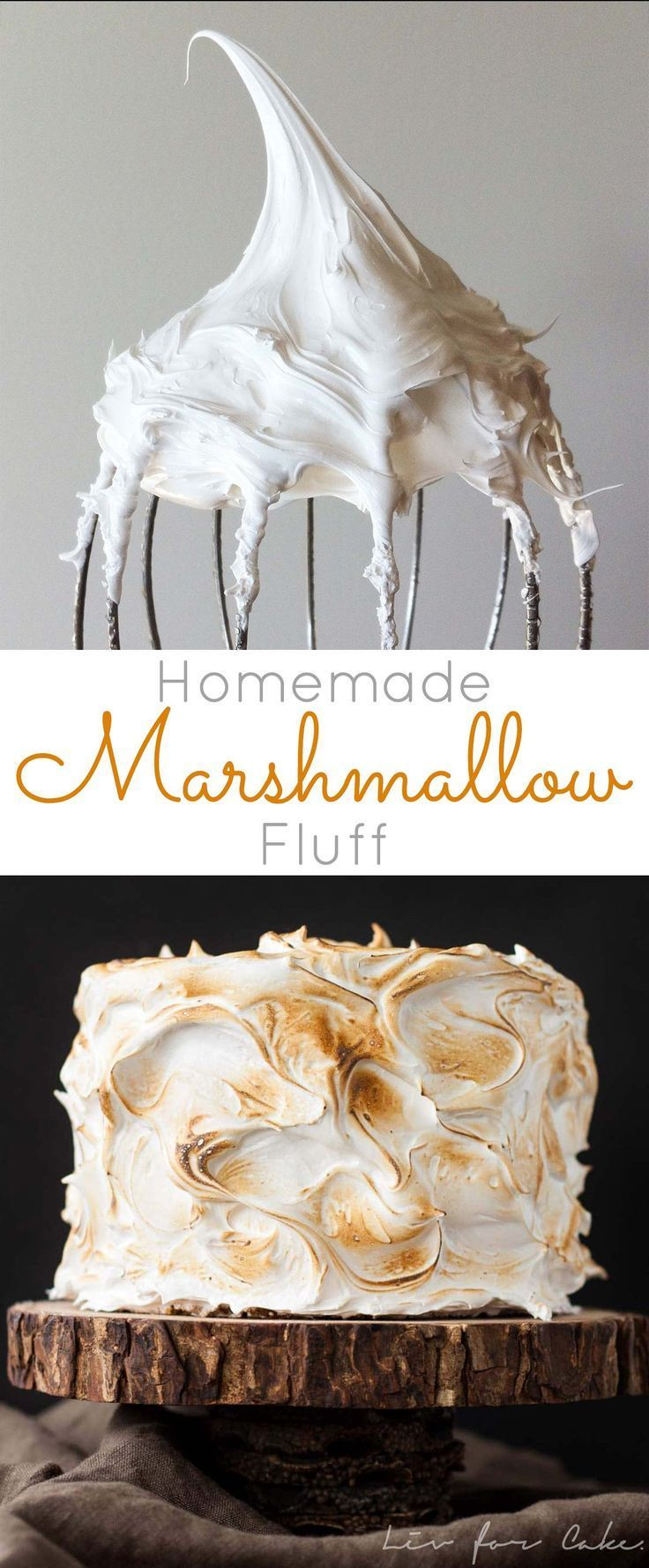 Make your own Marshmallow Fluff at home with a few simple ingredients! Perfect as a filling but works great as a simple frosting too! | livforcake.com #cakedecorationathome #marshmallow