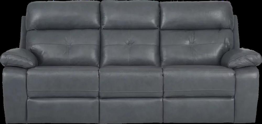 Cepano Blue Leather Reclining Sofa Leather Reclining Sofa