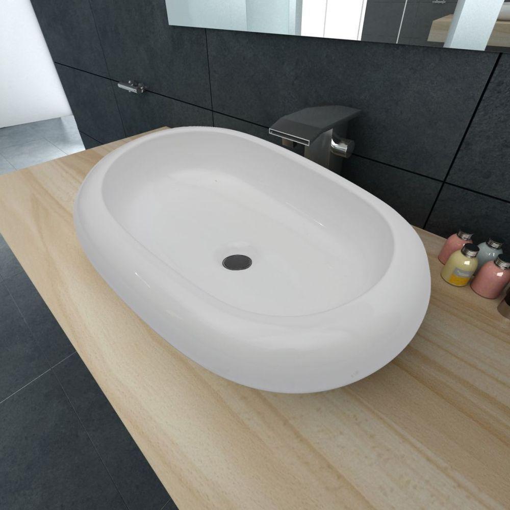 oval-shaped basin, ceramic 630 x 420 x 120H  $55 EBAY