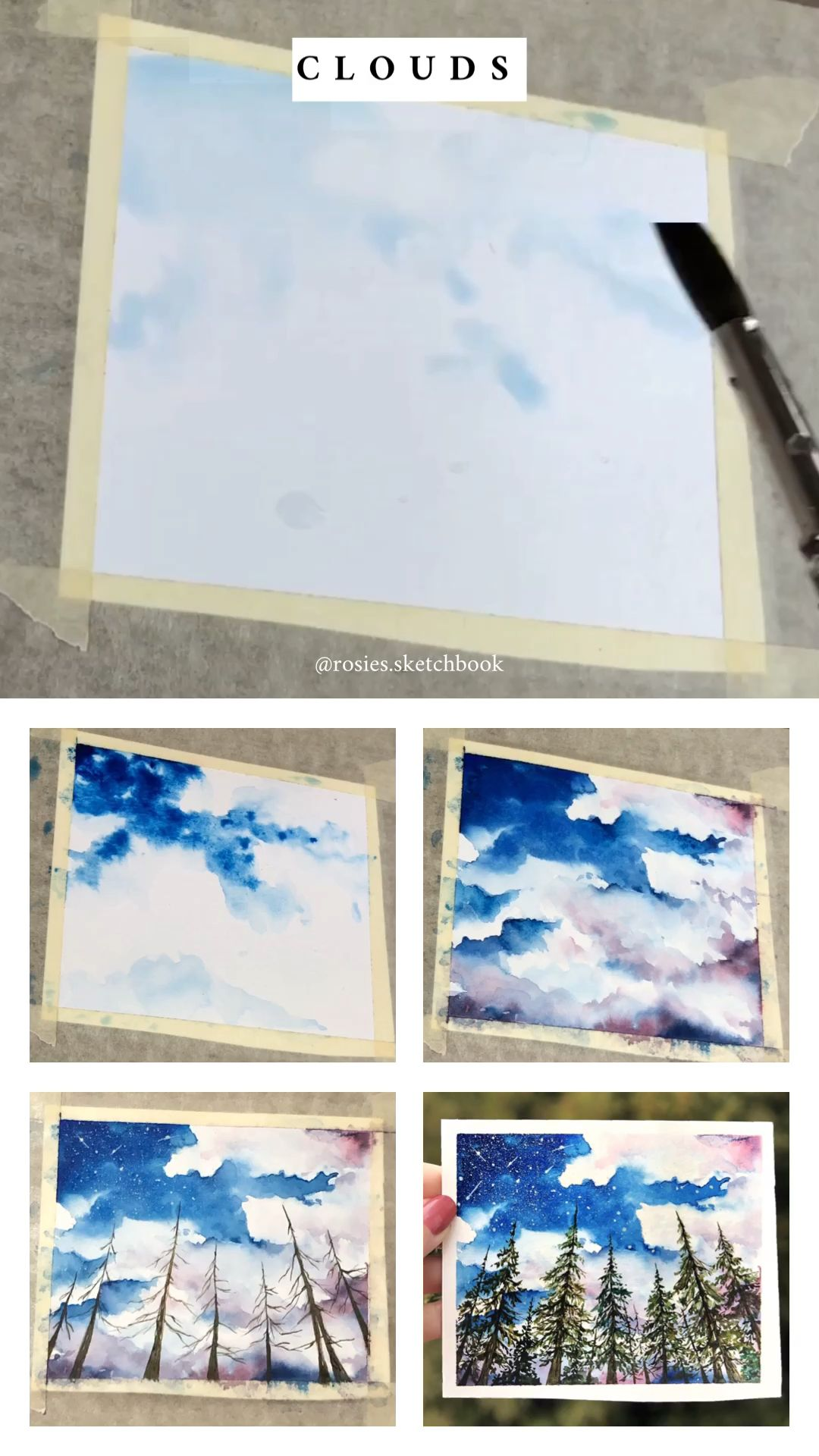 Mini Cloud Painting Tutorial With Step By Step Process Photos