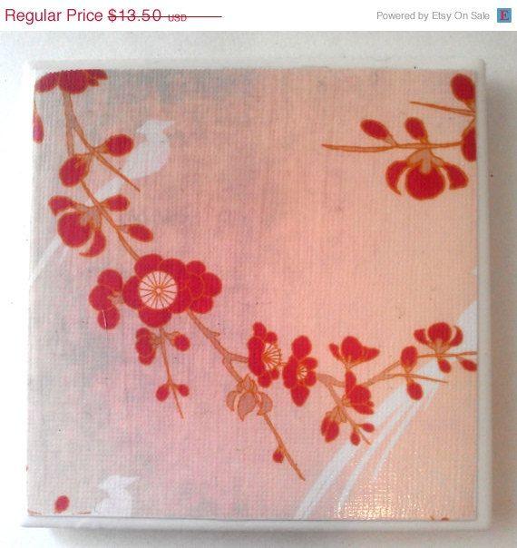 JULY SALE Asian Inspiration Heron Ceramic Coaster by CreativeSage, $10.50