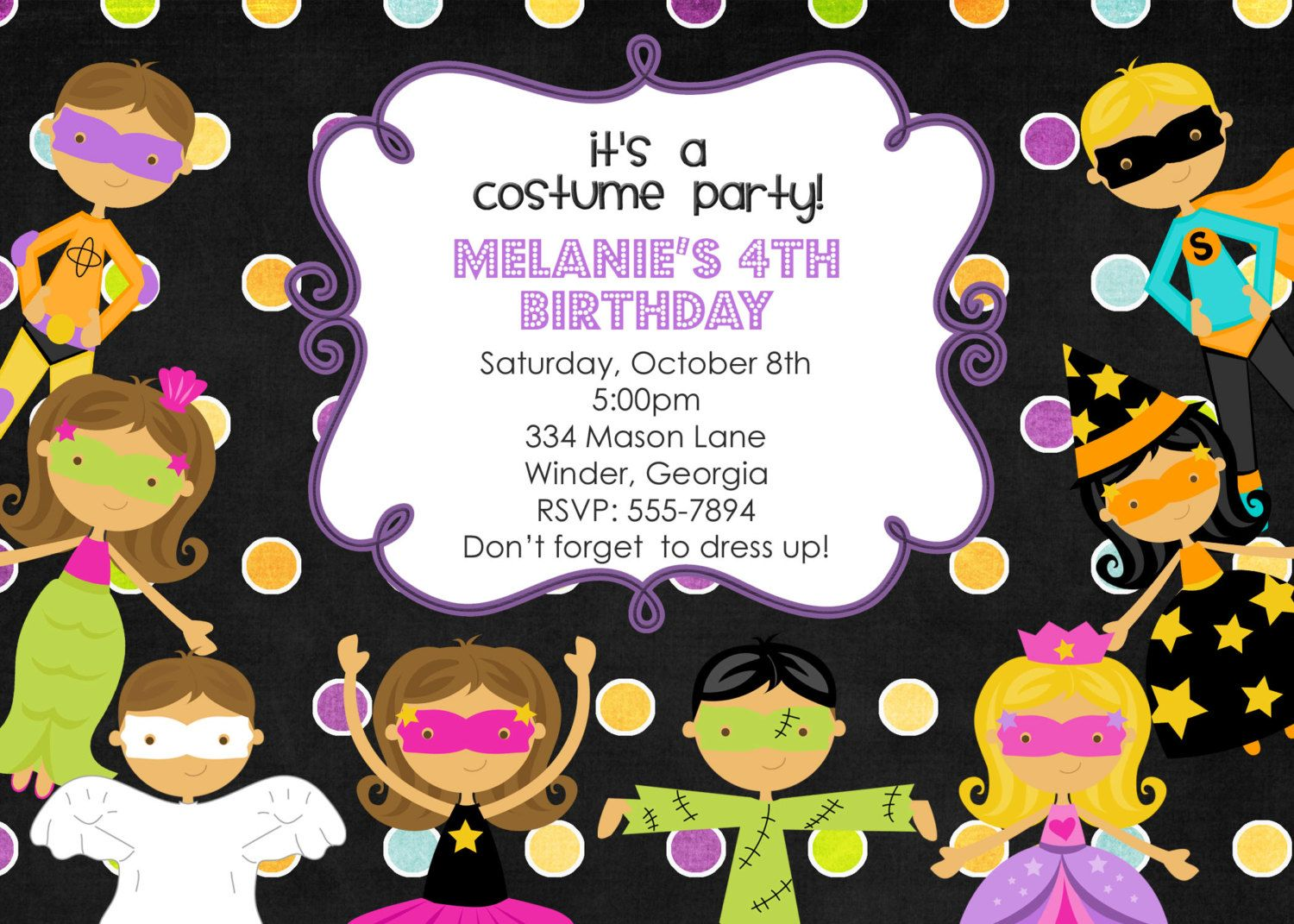 Costume Kids Party Birthday Invitation-Digital File. $12.00, via ...