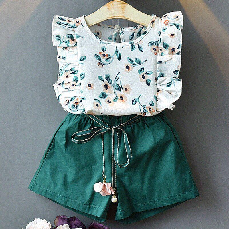 New Style Short Sleeve T-Shirt+Pant Dress 2Pcs Children Clothes Suits