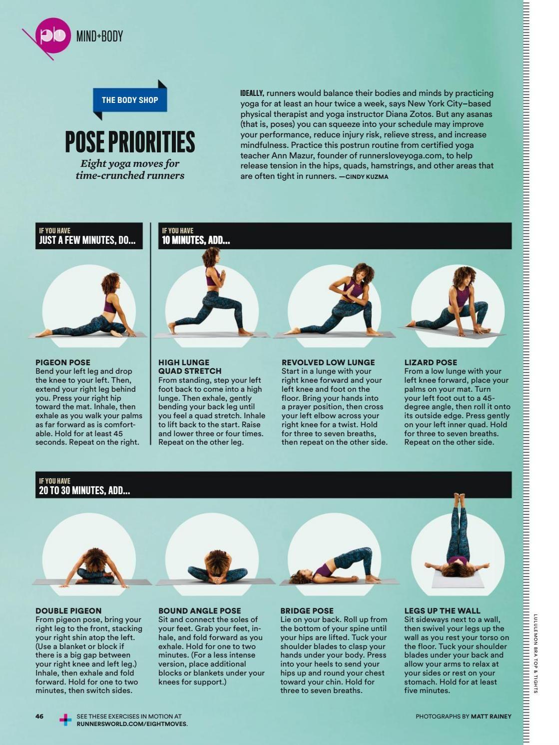 Yoga Poses In Runner S World Yoga Moves Yoga Teacher Yoga
