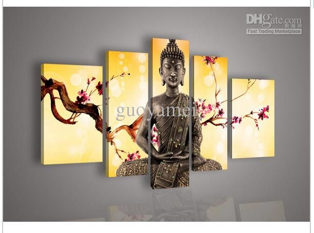 5 Panel Wall Art Religion Buddha Oil Painting On Canvas Best ...