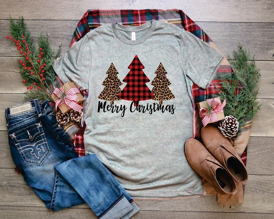 Buffalo Plaid And Leopard Trees Merry Christmas T Shirt Cute Christmas Shirts Plaid And Leopard Christmas Tree Shirt