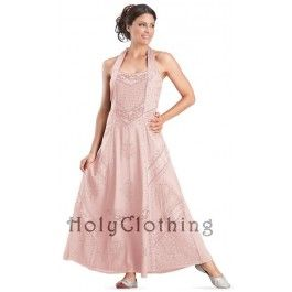 Desdemona Embroidered Boho Hippie Maxi Summer Beach Halter Dress - Dresses