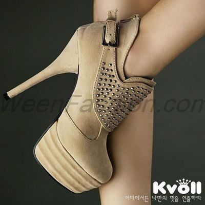 On Sale Korea Kvoll Sexy Womens Stiletto High Heel Rivet Ankle Boots With Buckles 1934 |2013 Fashion High Heels|