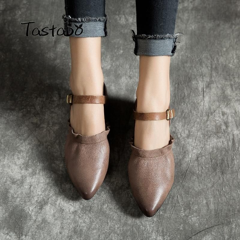 affe8219634c0 Tastabo Genuine Leather Shoes Handmade Women's shoes Low heel shoes ...