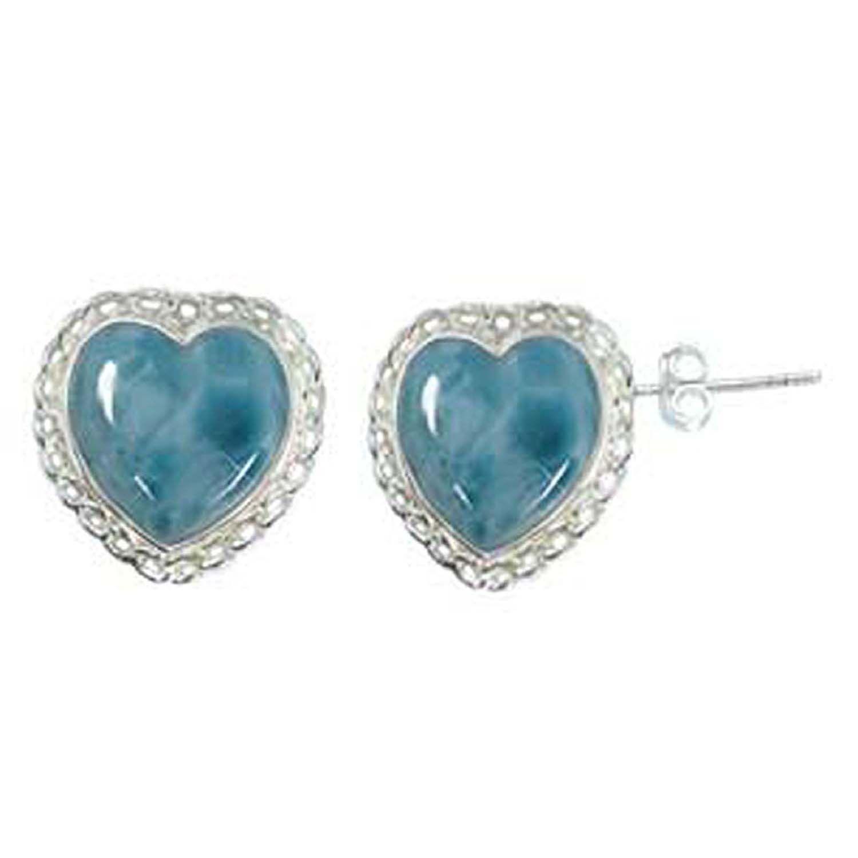 Sterling Silver Larimar Earrings heart shaped by http://jewelryandmore.us/
