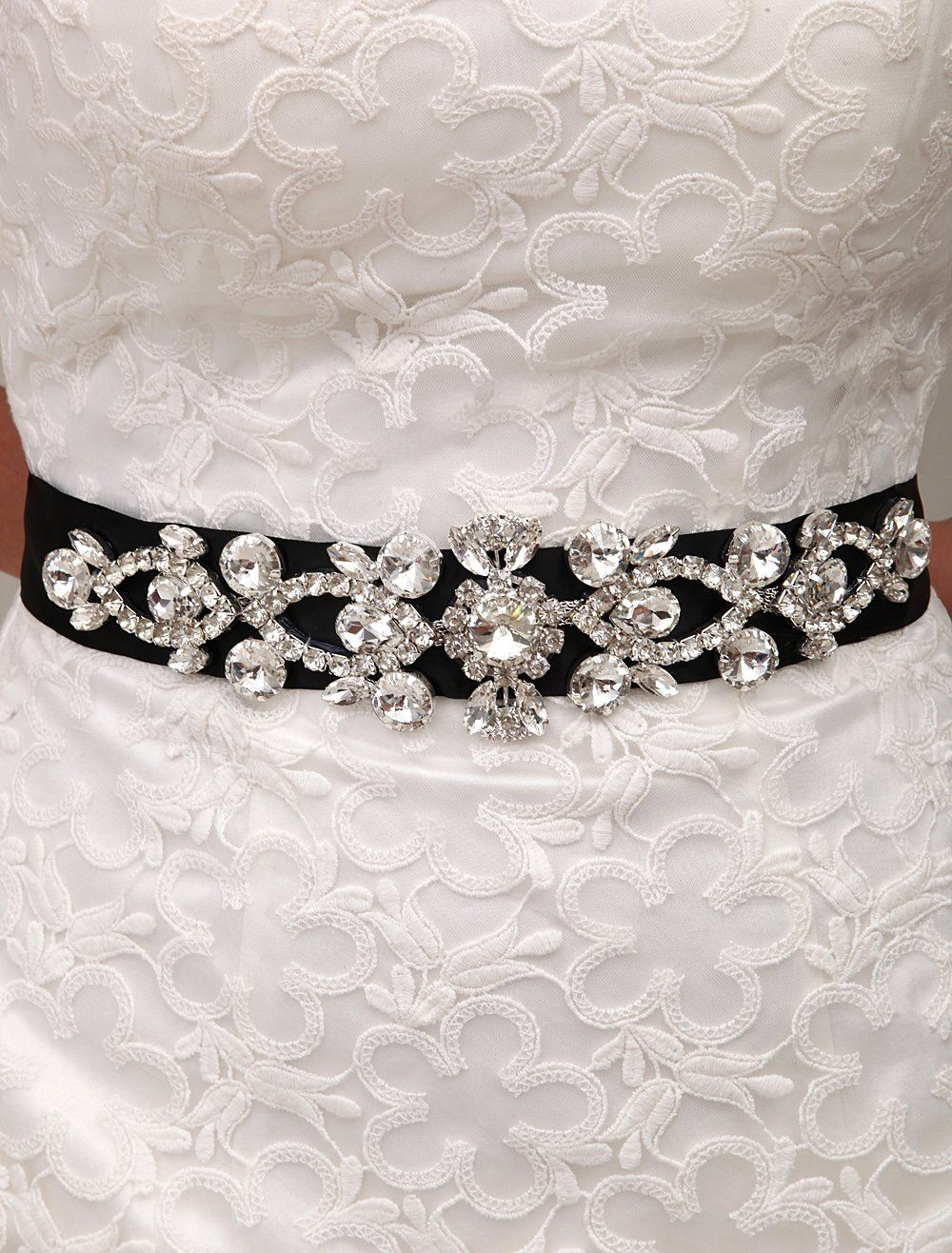 M4u Bridal Amazing Rhinestone Wedding Sash/waistband for Wedding and Party Black at Amazon Women's Clothing store: