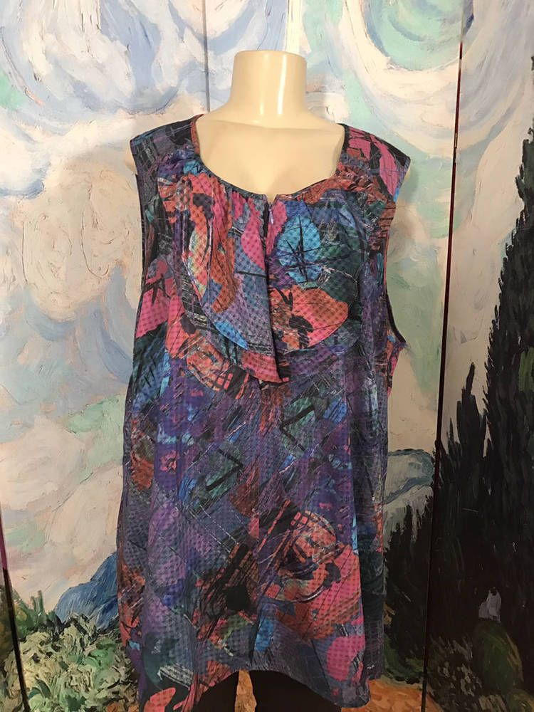 74373eb34bd99 Details about LANE BRYANT PLUS 24 PURPLE ARTSY DESIGN ZIP NECK SEMI-SHEER  SLEEVELESS TUNIC TOP