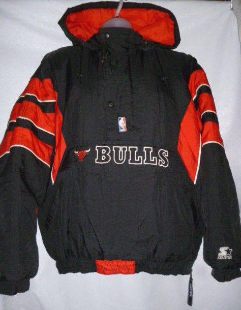 dd8b2713d204 VintaGE CHICAGO BULLS NBA Starter Jacket Black Red XL  Starter  ChicagoBulls