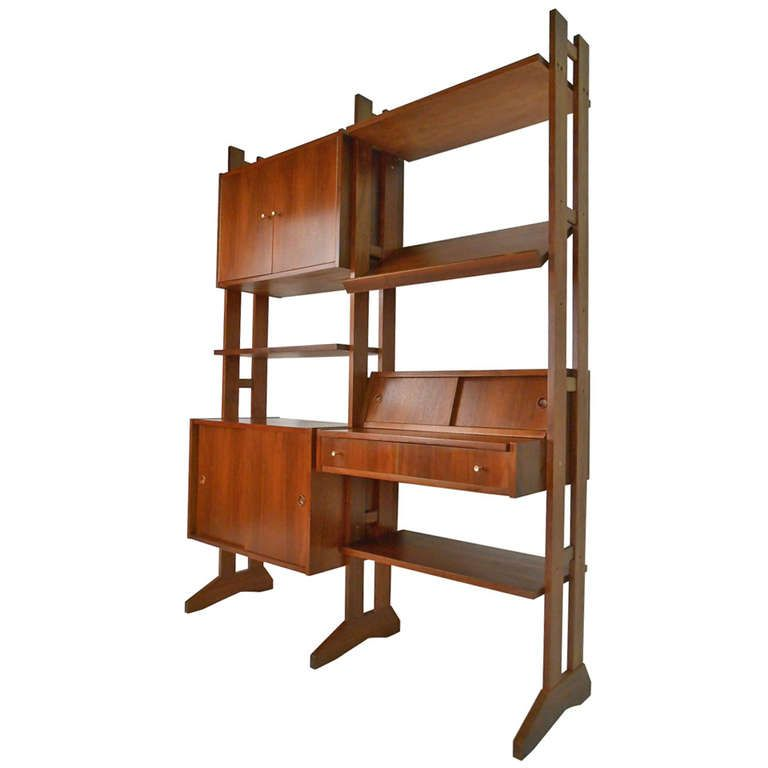 Standing Walnut Wall Unit From A Unique Collection Of Antique And Modern Shelves At Https