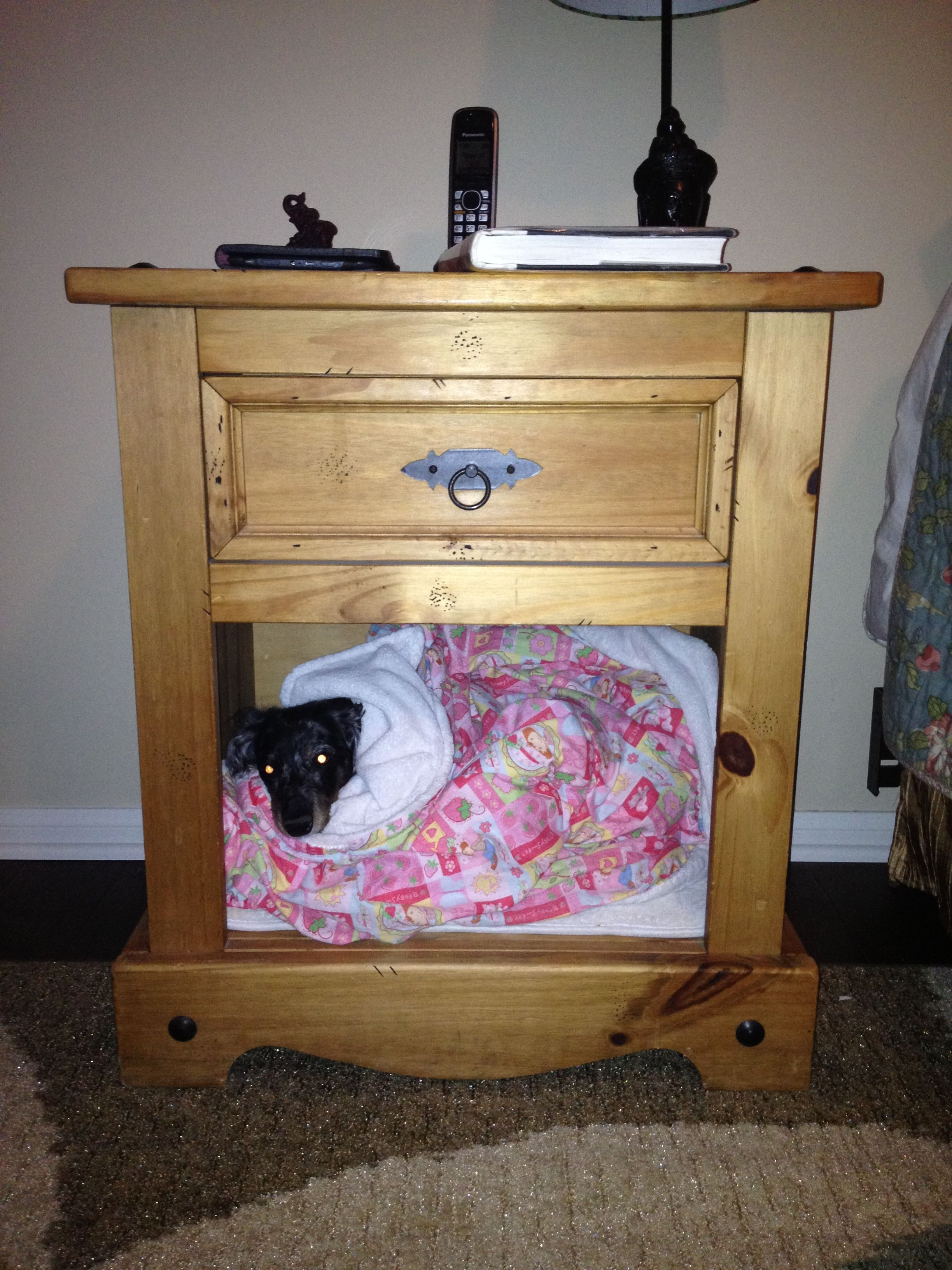 Dog Bed In Nightstand House Organisation Dog Bed Decor