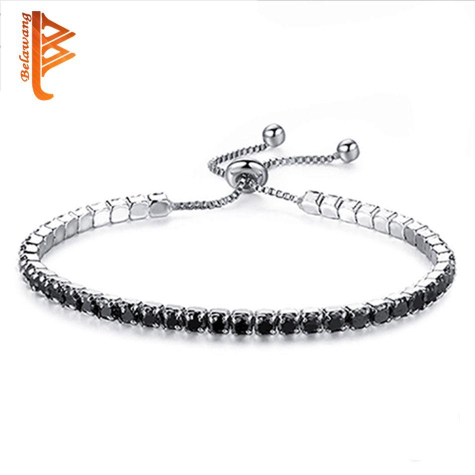 Sparking black cubic zirconia crystal tennis bracelet bangle for