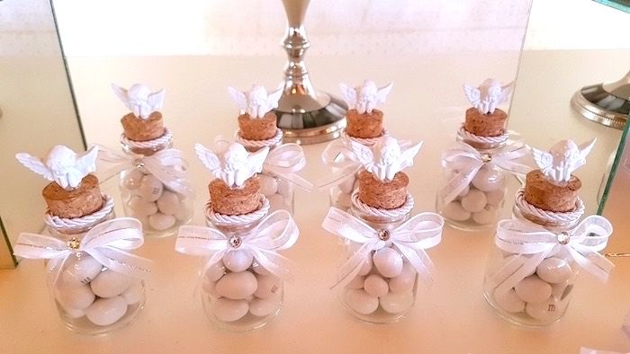White Angel Baptism Party Kara S Party Ideas Baptism Party Favors Baptism Party Baptism Party Decorations