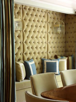 Would Looooove to do this at the restaurant. Tufted walls are ...