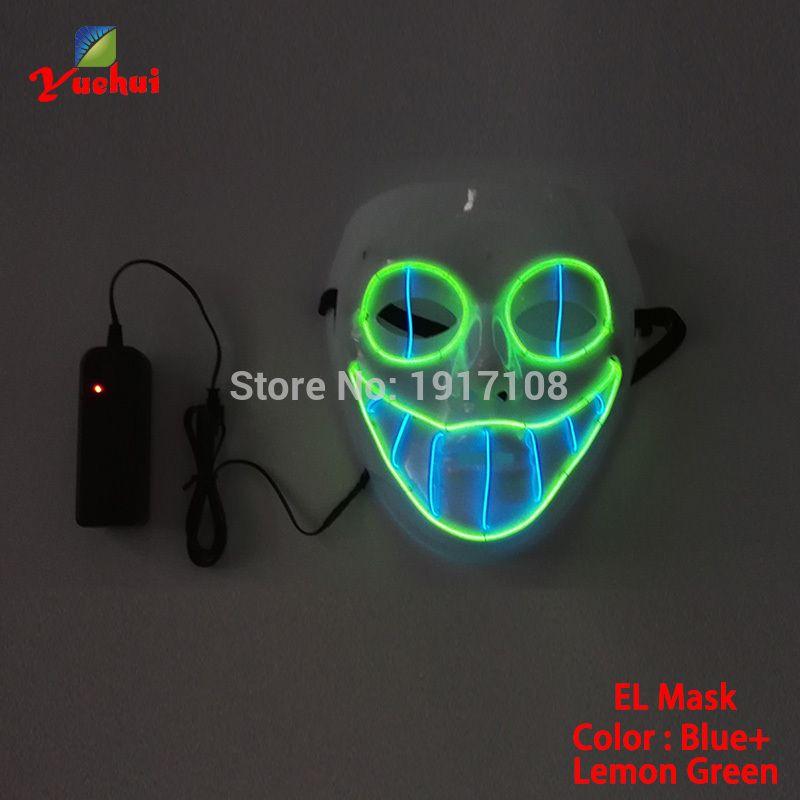Hot sales EL wire Horror smile Masks Halloween Mask glowing EL wire ...