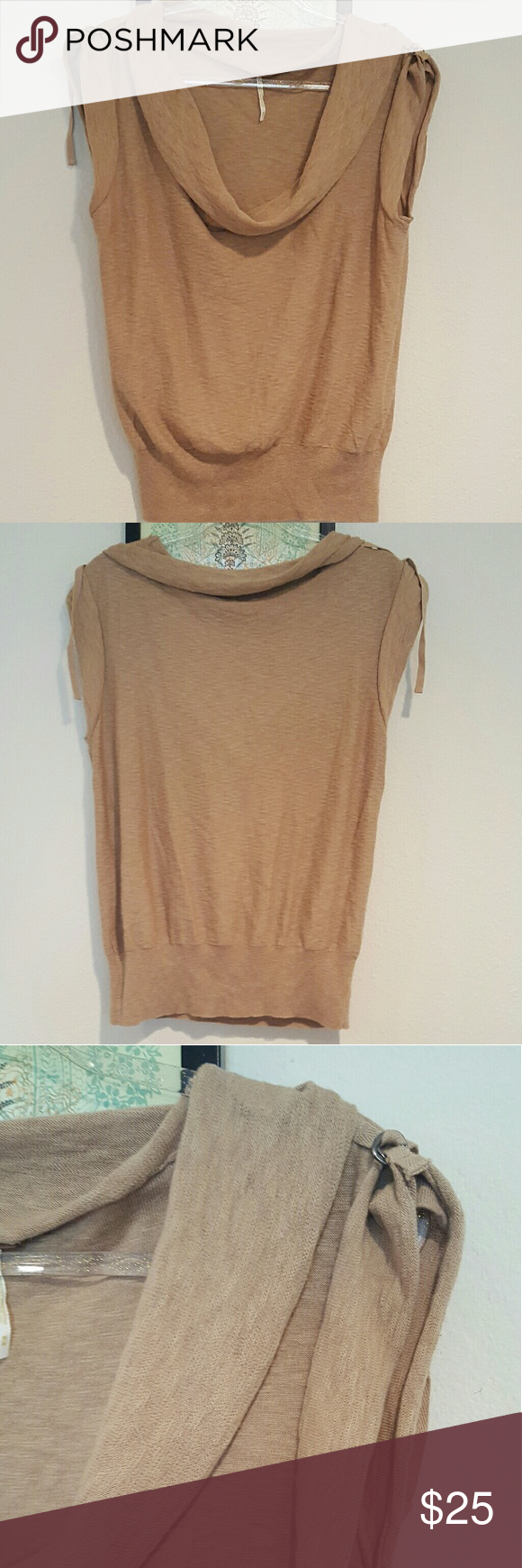 Free people Knit Blouse Free People cowl neck knit blouse with buckle details on shoulders. Euc Free People Tops Blouses