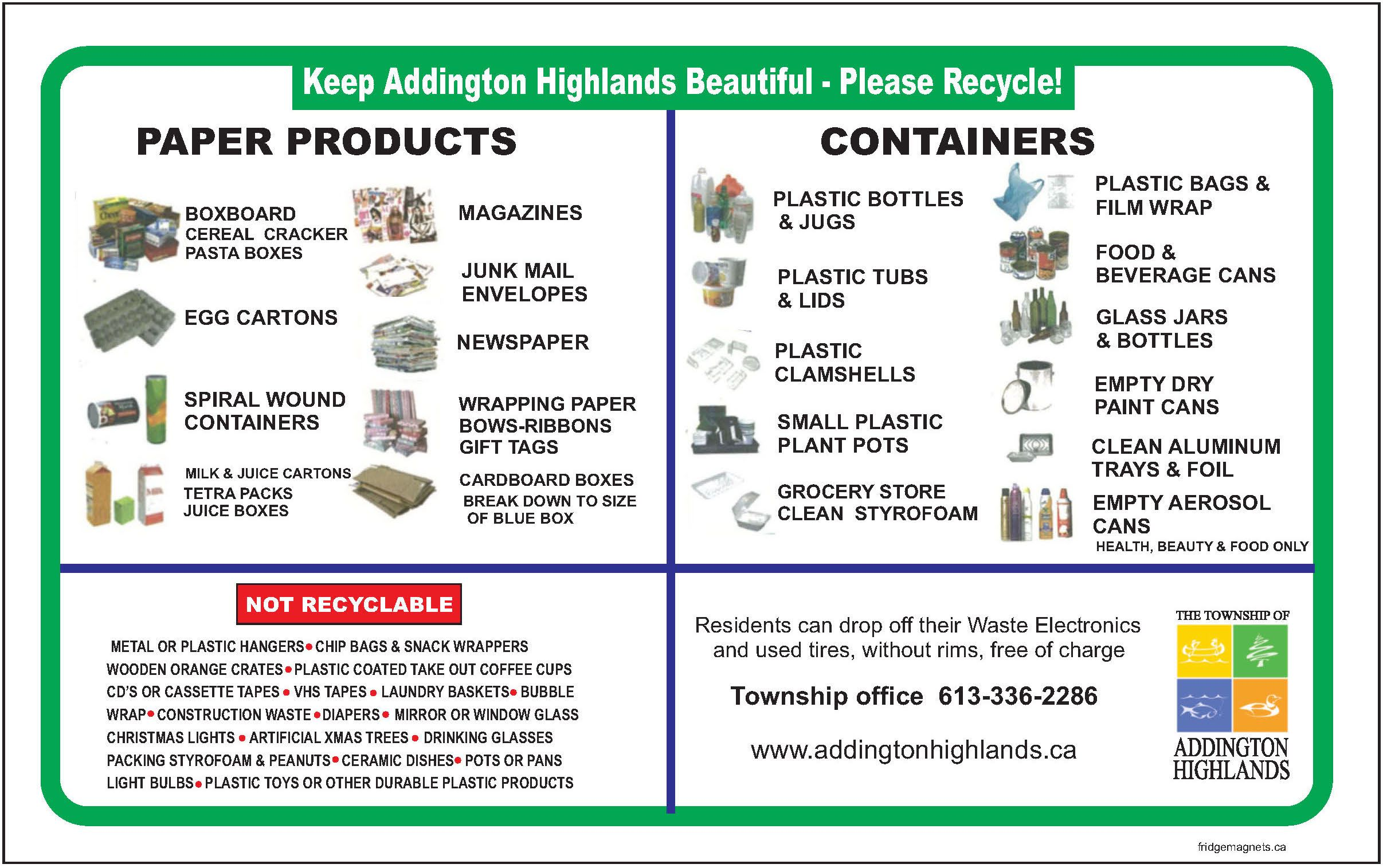 Pin 0009 Township Of Adlington Highlands Magnet For Proper Sorting Promotion Of Recycling Program Recycling Programs Glass Jars Recycling