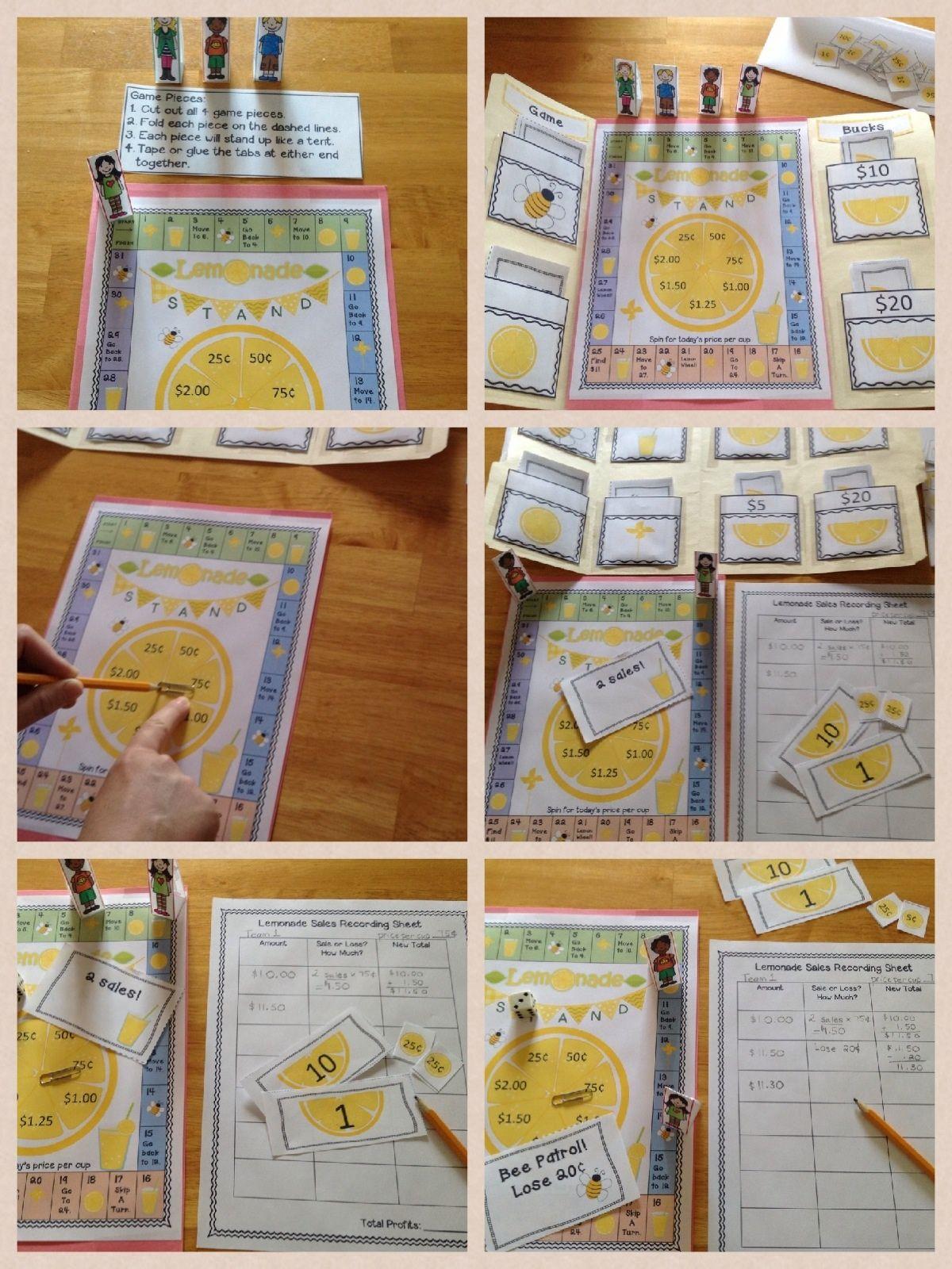 Summer Math Game Lemonade Stand Math games, 2nd grade