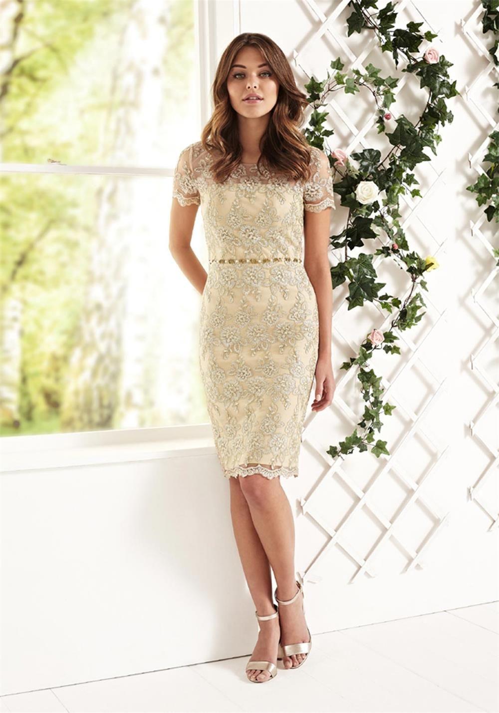 Gina bacconi embellished waist lace dress antique gold