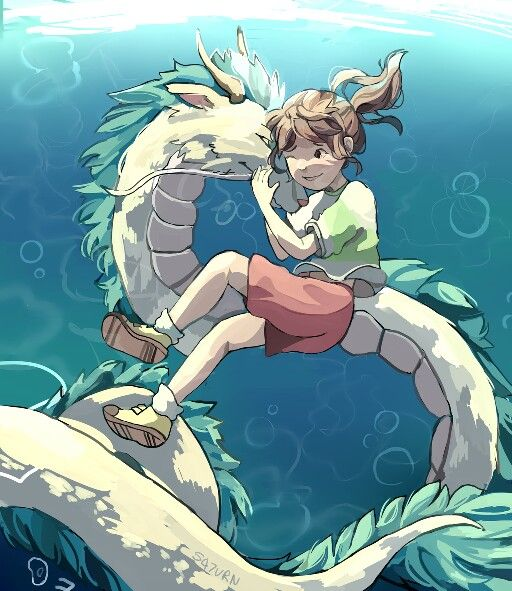 River Spirit Chihiro And Haku As A Dragon In The Water Anime Sketch Studio Ghibli Kawaii Anime