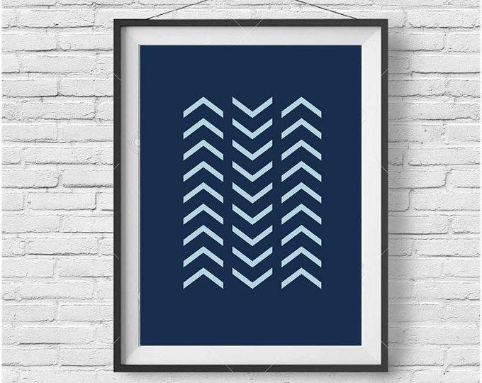 Navy Print Navy Art Navy Poster Chevron Print Chevron Art Geometric Print Geometric Poster Abstract Print Minimalist Print Navy Home Decor