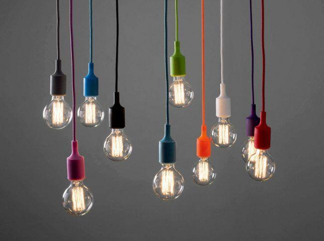 Küchenlampen Hängend ~ Glühbirne als lampe farben bunt kabel dekorativ bastelidee