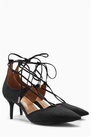 Buy Black Lace Up Pointed Kitten Heels From The Next Uk Online Shop Heels Mid Heel Sandals Sandals Heels