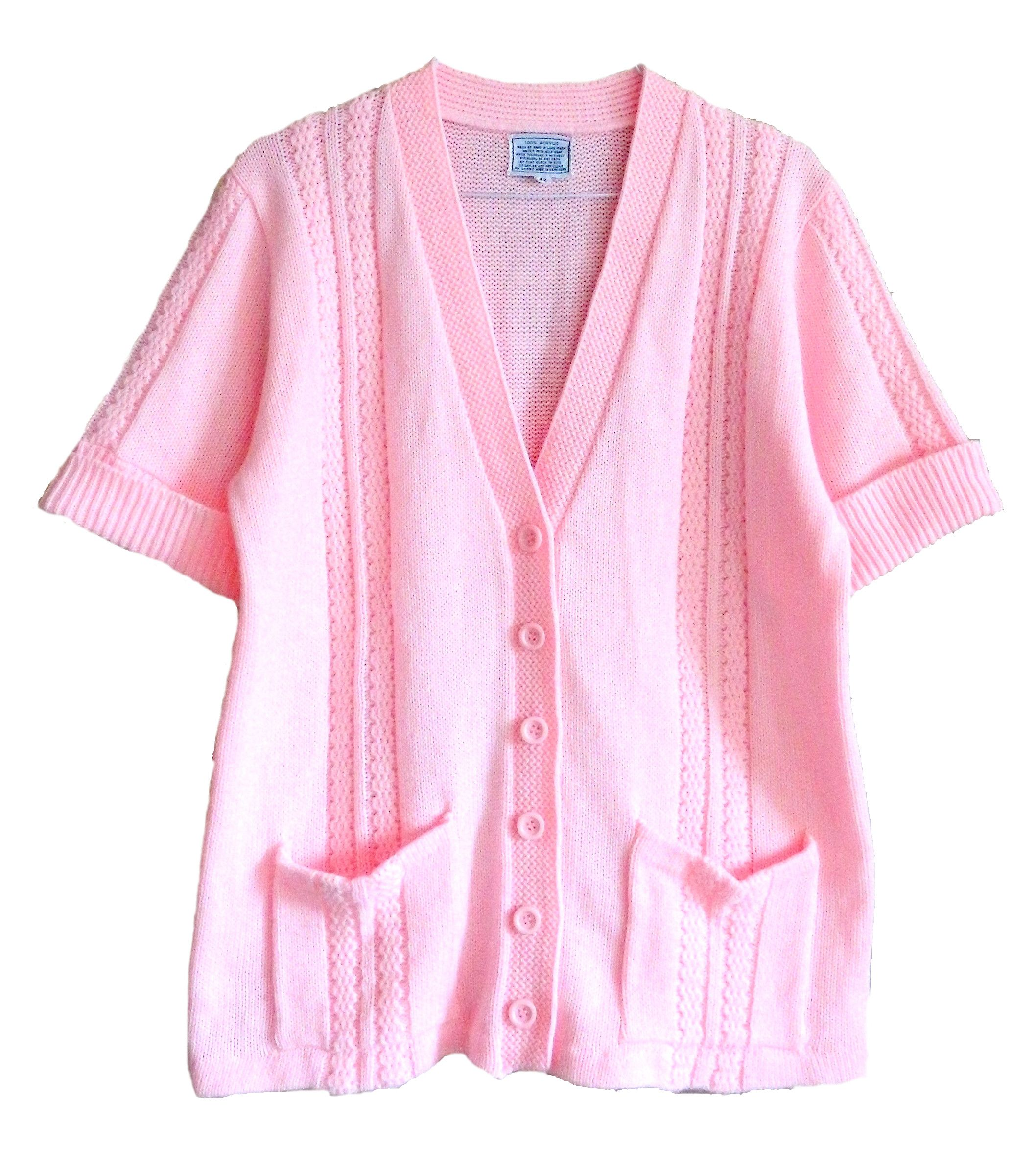 vintage hand knitted pink deep vneck baby pink button up cardigan ...
