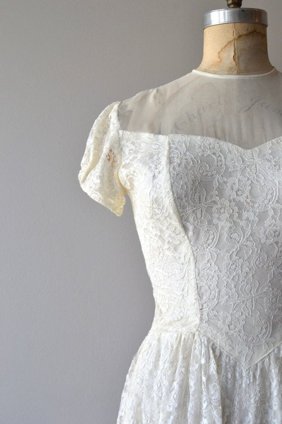 Lissome wedding gown | vintage 1940s wedding dress | lace 40s ...