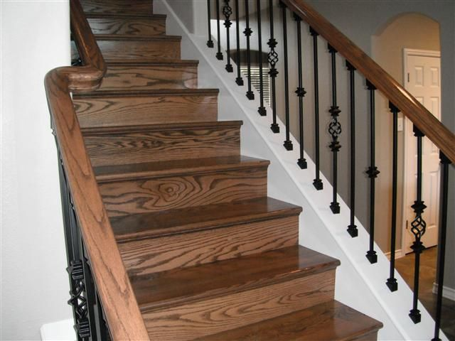 knee wall stair rail old oak railing refinished offset
